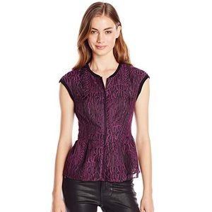 Nanette Lepore Purple Embroidered Peplum Top